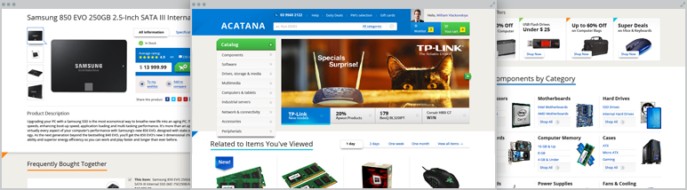 Development Acatana – prototyping and design for the large-scale PC accessories and hardware online store (Australian market)