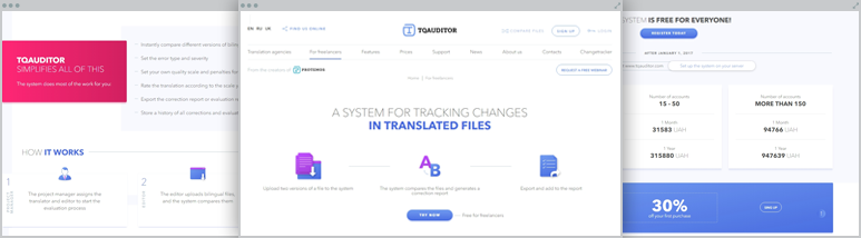 Development The system for translation quality assessment and monitor translation quality TQAuditor –