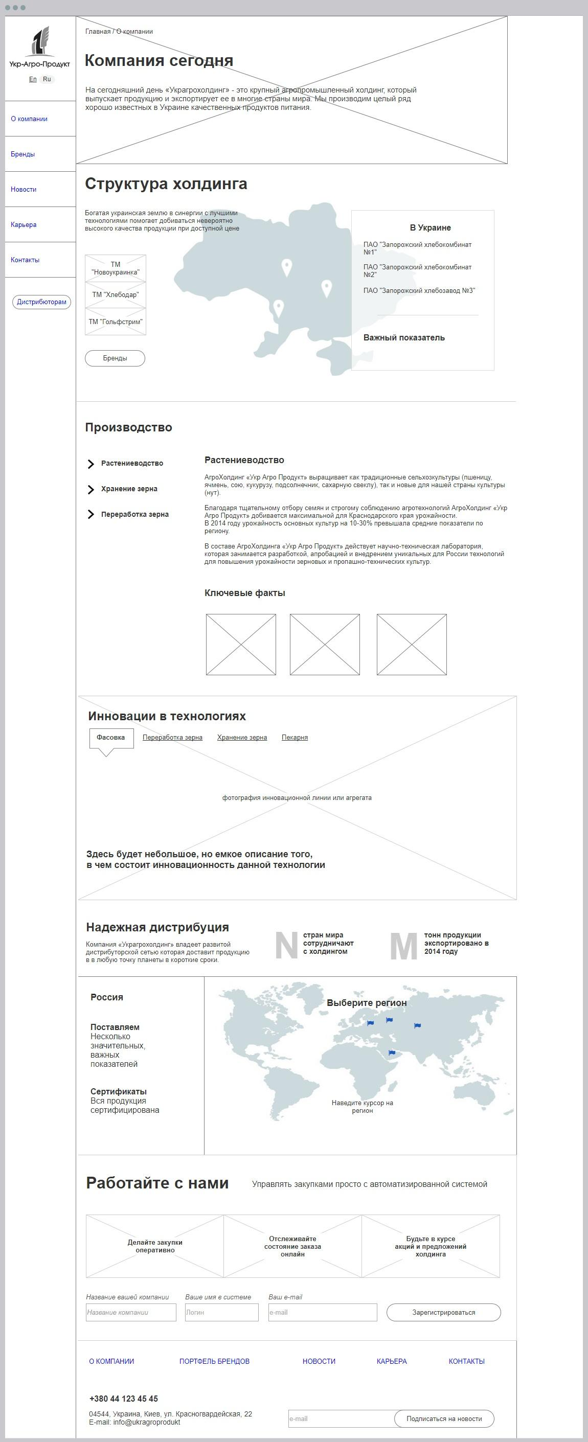 Prototype of corporate website Ukragroprodukt | Evergreen projects 11