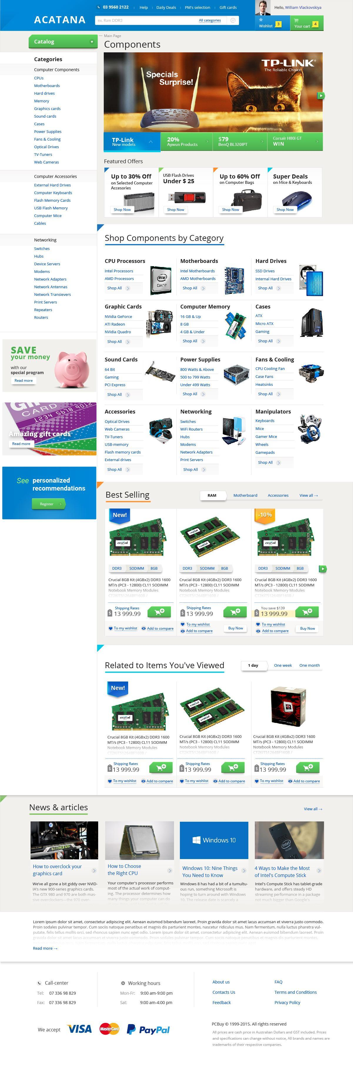 prototyping and design for the large-scale PC accessories and hardware online store (Australian market) | Evergreen projects 6