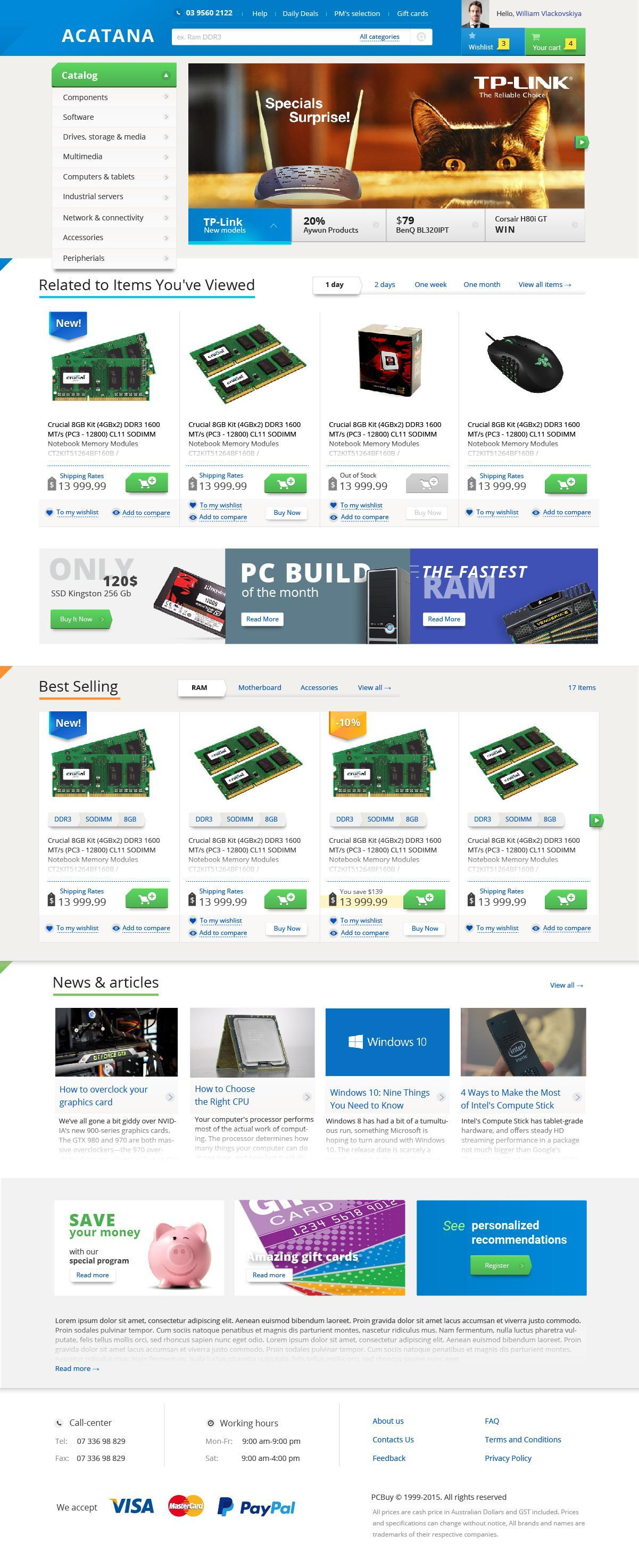 prototyping and design for the large-scale PC accessories and hardware online store (Australian market) | Evergreen projects 5